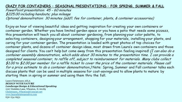 DWN GCI pots for spring, summer and fall blurb