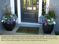 fall pots mcfarland front entrance purple scheme
