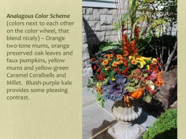 farley fall urns reds, orange and yellow with purple