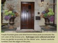 shaffer urns for fall with dried hydrangeas