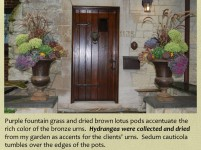 shaffer urns for fall with dried hydrangeas
